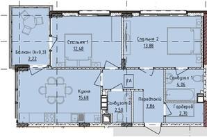 ЖК Приморські Сади: планування 2-кімнатної квартири 44.9 м²