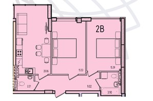 ЖК Приморські Сади: планування 1-кімнатної квартири 67.5 м²
