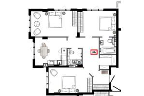 ЖК Приморські Сади: планування 3-кімнатної квартири 84.5 м²