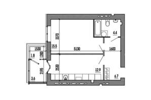 ЖК Пурпурові вітрила: планування 1-кімнатної квартири 43.9 м²