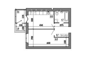 ЖК Пурпурові вітрила: планування 1-кімнатної квартири 44.1 м²