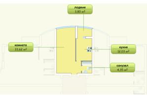 ЖК Пихтовый: планировка 1-комнатной квартиры 53 м²