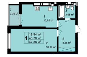 ЖК Q-4 Quoroom Grand Avenue: планировка 1-комнатной квартиры 47.38 м²