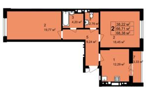 ЖК Q-4 Quoroom Grand Avenue: планировка 2-комнатной квартиры 68.38 м²