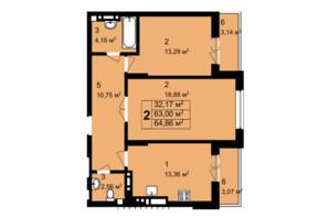 ЖК Q-4 Quoroom Grand Avenue: планировка 2-комнатной квартиры 64.86 м²