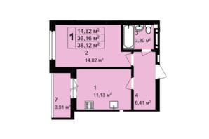 ЖК Q-4 Quoroom Grand Avenue: планировка 1-комнатной квартиры 38.12 м²