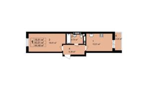 ЖК Q-4 Quoroom Grand Avenue: планировка 1-комнатной квартиры 44.48 м²