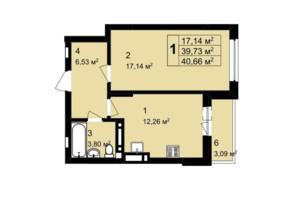 ЖК Q-4 Quoroom Grand Avenue: планировка 1-комнатной квартиры 40.66 м²