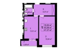 ЖК Q-4 Quoroom Grand Avenue: планировка 1-комнатной квартиры 47.37 м²