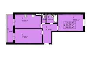 ЖК Q-4 Quoroom Grand Avenue: планировка 2-комнатной квартиры 68.13 м²