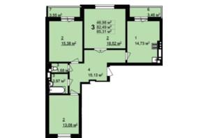 ЖК Q-4 Quoroom Grand Avenue: планировка 3-комнатной квартиры 85.31 м²