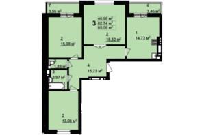 ЖК Q-4 Quoroom Grand Avenue: планировка 3-комнатной квартиры 85.56 м²