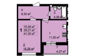 ЖК Q-4 Quoroom Grand Avenue: планировка 1-комнатной квартиры 41.35 м²