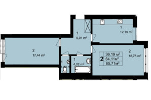 ЖК Q-6 Quoroom Perfect Town: планировка 2-комнатной квартиры 65.71 м²