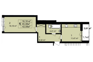 ЖК Q-6 Quoroom Perfect Town: планировка 1-комнатной квартиры 42.08 м²