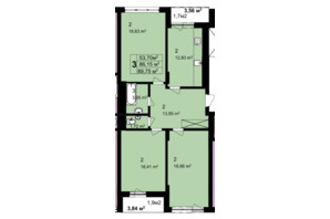 ЖК Q-6 Quoroom Perfect Town: планировка 3-комнатной квартиры 89.75 м²