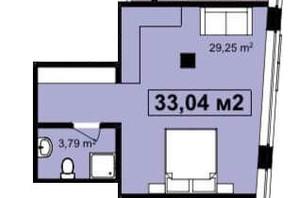 ЖК Q-7 Quoroom Apartments: планировка 1-комнатной квартиры 33.04 м²