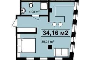 ЖК Q-7 Quoroom Apartments: планировка 1-комнатной квартиры 34.16 м²