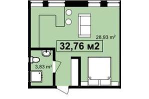 ЖК Q-7 Quoroom Apartments: планировка 1-комнатной квартиры 32.76 м²