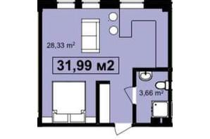 ЖК Q-7 Quoroom Apartments: планировка 1-комнатной квартиры 31.99 м²