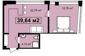ЖК Q-7 Quoroom Apartments: планировка 1-комнатной квартиры 39.64 м²