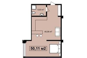 ЖК Q-7 Quoroom Apartments: планировка 1-комнатной квартиры 50.11 м²