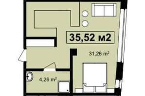 ЖК Q-7 Quoroom Apartments: планировка 1-комнатной квартиры 35.52 м²