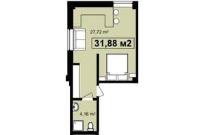 ЖК Q-7 Quoroom Apartments: планировка 1-комнатной квартиры 31.88 м²