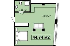 ЖК Q-7 Quoroom Apartments: планировка 1-комнатной квартиры 44.74 м²