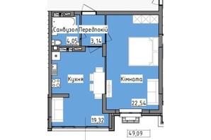 ЖК R2 residence: планировка 1-комнатной квартиры 49.09 м²
