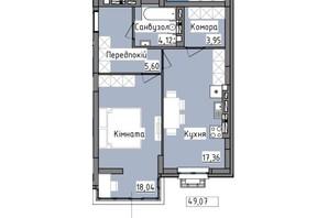 ЖК R2 residence: планировка 1-комнатной квартиры 49.07 м²