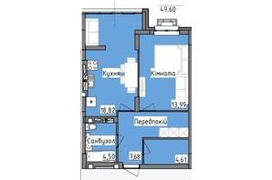 ЖК R2 residence: планировка 1-комнатной квартиры 49.6 м²
