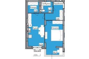 ЖК R2 residence: планировка 1-комнатной квартиры 49.04 м²