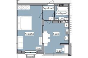 ЖК R2 residence: планировка 1-комнатной квартиры 46.58 м²
