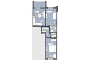 ЖК R2 residence: планировка 2-комнатной квартиры 68.36 м²