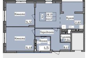 ЖК R2 residence: планировка 2-комнатной квартиры 66.67 м²