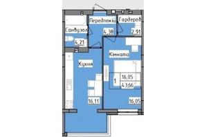 ЖК R2 residence: планировка 1-комнатной квартиры 43.66 м²