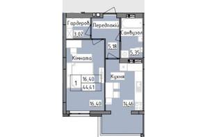 ЖК R2 residence: планировка 1-комнатной квартиры 44.41 м²