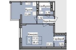 ЖК R2 residence: планировка 1-комнатной квартиры 38.49 м²