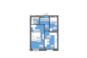 ЖК R2 residence: планировка 1-комнатной квартиры 39.74 м²