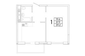 ЖК Радужный: планировка 1-комнатной квартиры 39.29 м²