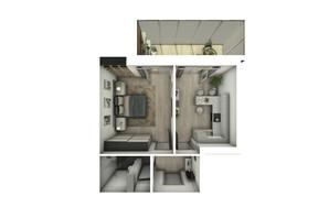 ЖК Райдужний: планування 1-кімнатної квартири 43.08 м²