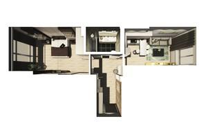 ЖК Райдужний: планування 1-кімнатної квартири 43.69 м²