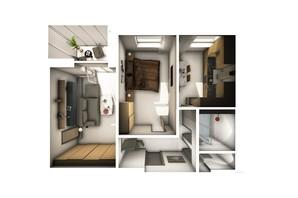 ЖК Райдужний: планування 2-кімнатної квартири 61.12 м²