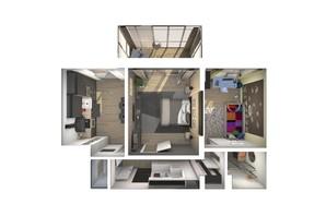 ЖК Райдужний: планування 2-кімнатної квартири 64.18 м²