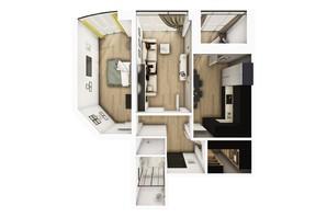 ЖК Райдужний: планування 2-кімнатної квартири 64.85 м²