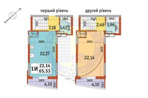 ЖК Райдужний: планування 1-кімнатної квартири 65.53 м²