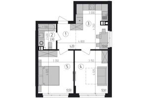 ЖК Район 2: планировка 2-комнатной квартиры 46.83 м²