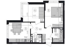 ЖК Район 2: планировка 2-комнатной квартиры 50.59 м²