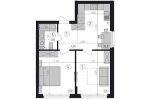 ЖК Район 2: планировка 2-комнатной квартиры 47.46 м²